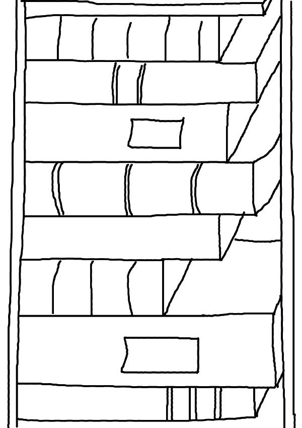 Bookshelf, : Kids Drawing Bookshelf Coloring Pages
