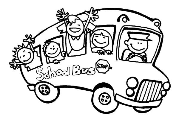 Bus Driver, : Kids Waving Hand Bus Driver Coloring Pages