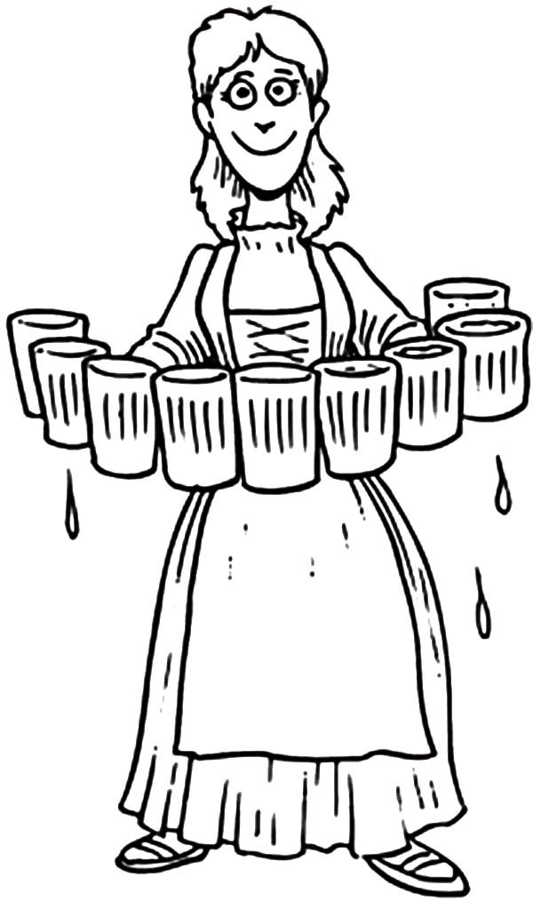 Beer, : Lady Serving Beer Coloring Pages