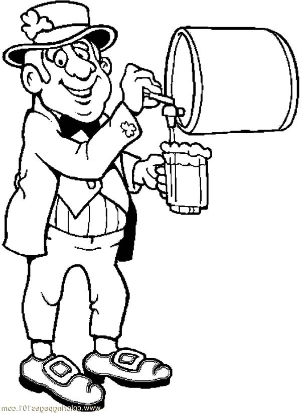 Beer, : Leprechaun Pouring Beer Coloring Pages