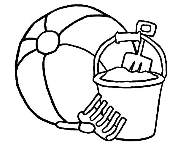 Beach Bucket, : Lets Play to the Beach with Beach Bucket Coloring Pages