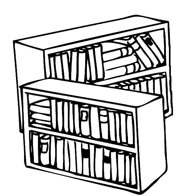 Bookshelf, : Library Bookshelf Coloring Pages