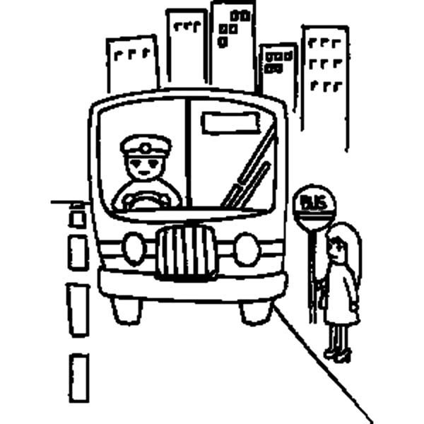 Bus Stop, : Little Girl Waiting at Bus Stop Coloring Pages