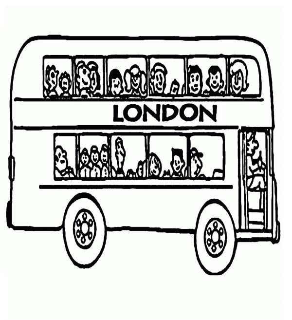 Bus Driver, : London Double Decker Bus Driver Coloring Pages