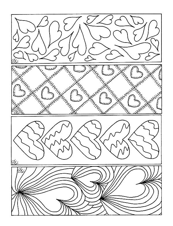 Bookmarks, : Love Theme Bookmarks Coloring Pages