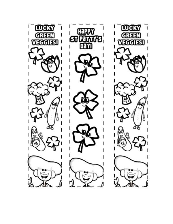 Bookmarks, : Lucky Green Veggies Bookmarks Coloring Pages