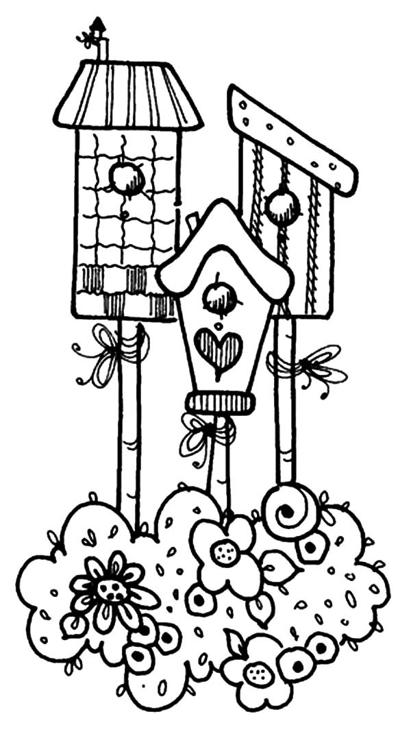Bird House, : Magnificent Bird House Design Coloring Pages
