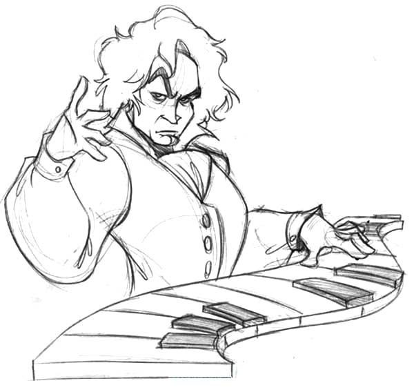 Beethoven In Manga Style Coloring Page