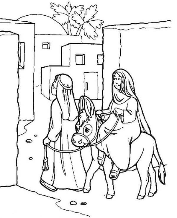 Bible Christmas Story, : Mary and Joseph Arrived at Bethlehem Bible Christmas Story Coloring Pages