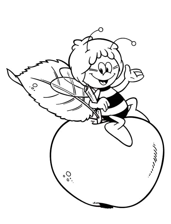 Bumble Bee, : Maya the Bumble Bee Sitting on an Apple Coloring Pages