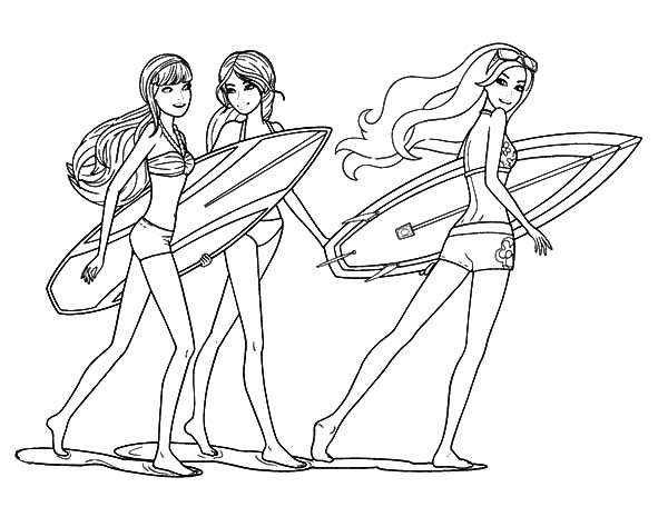 surfing barbie coloring pages - photo#4