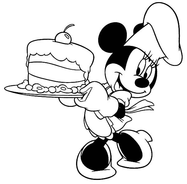 Birthday, : Minnie Mouse Birthday Cake Coloring Pages