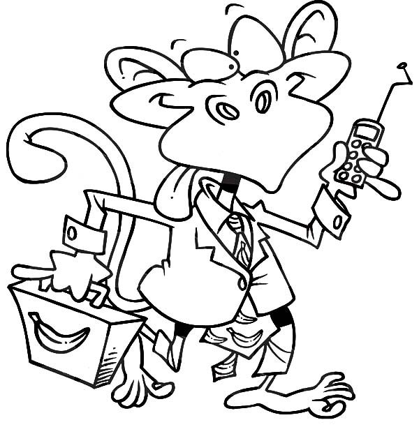 Business, : Monkey Business Coloring Pages