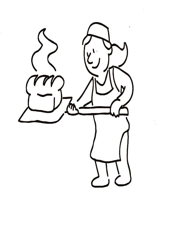 Bread, : Mother Baking Tasty Bread Coloring Pages