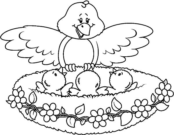Bird Nest, : Mother Surprised Her Babies in Bird Nest Coloring Pages