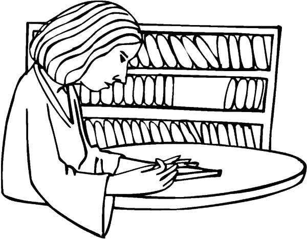 Bookshelf, : Mother Take Book from Bookshelf Coloring Pages
