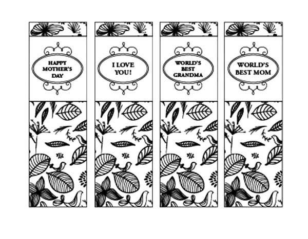 Bookmarks, : Mothers Day Bookmarks Coloring Pages