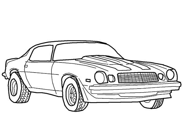 Bumblebee Car, : Muscle Camaro Bumblebee Car Coloring Pages