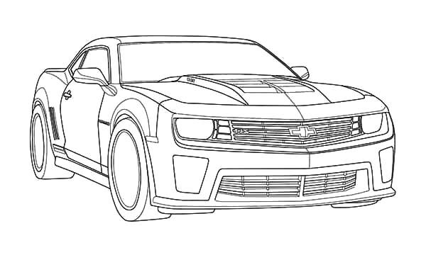 Bumblebee Car, : Muscle Car Camaro Bumblebee Car Coloring Pages