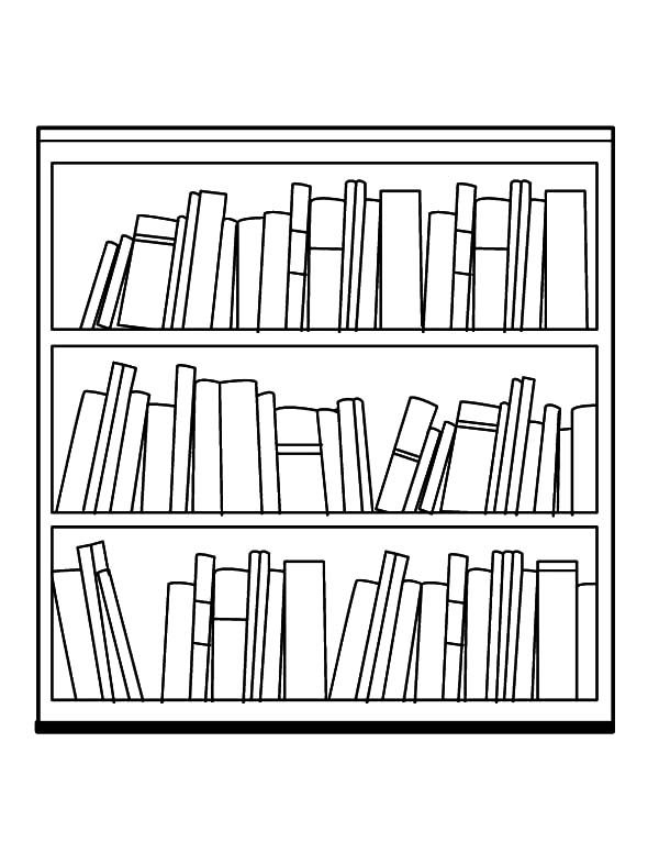 Bookshelf, : My Fathers Bookshelf Coloring Pages