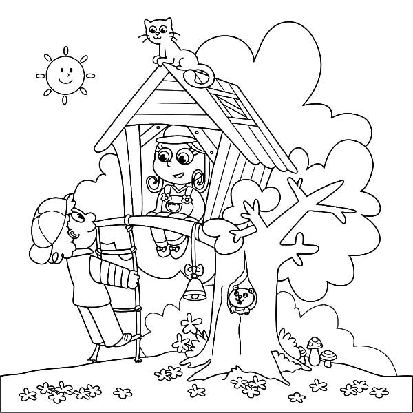 Arbor Day, : National Arbor Day Treehouse Coloring Pages