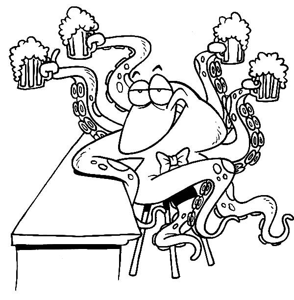 Beer, : Octopus Bartender Serving Beer Coloring Pages