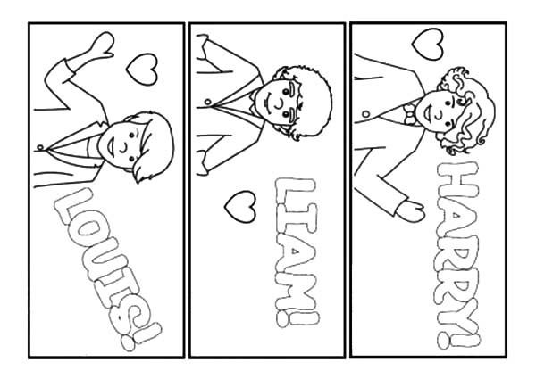 Bookmarks, : One Direction Bookmarks Coloring Pages