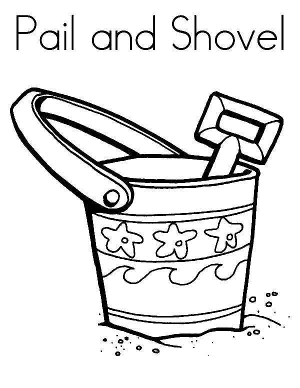 Beach Bucket, : Pail and Shovel Beach Bucket Coloring Pages