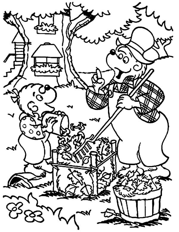 Berenstain Bear, : Papa Bear and Sister Bear Cleaning Dry Leaves in Berenstain Bear Coloring Pages