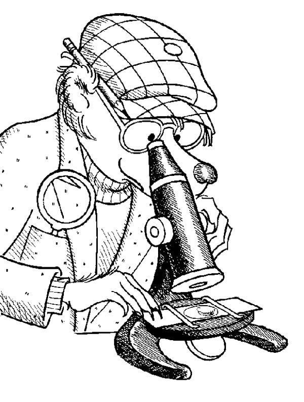 Berenstain Bear, : Papa Berenstain Bear Looking at Microscope Coloring Pages