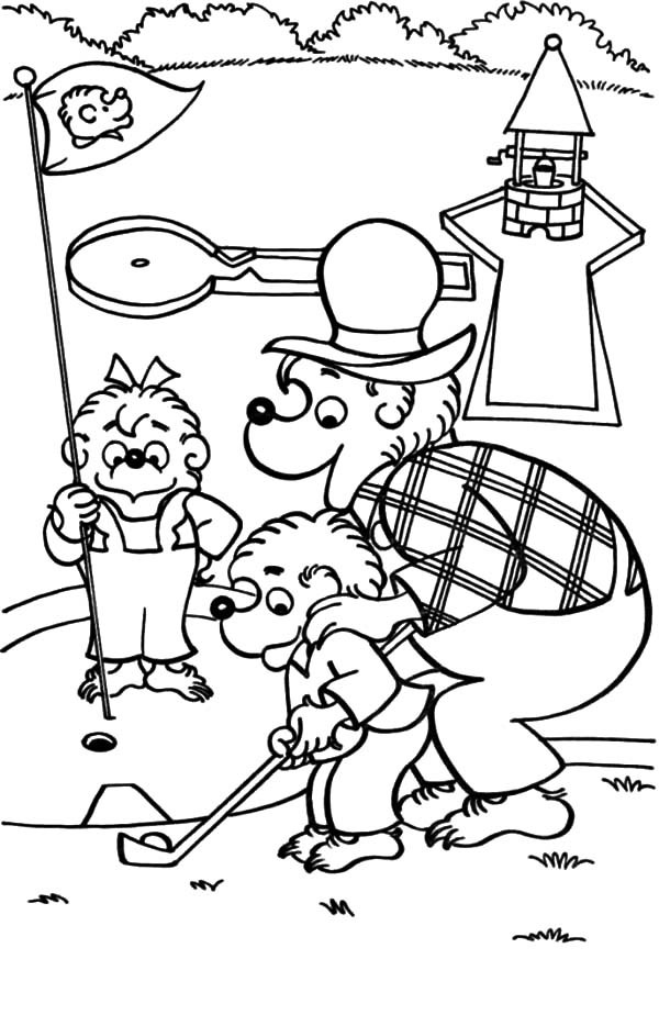 Berenstain Bear, : Papa Berenstain Bear Teach Brother and Sister Bear How to Golf Coloring Pages
