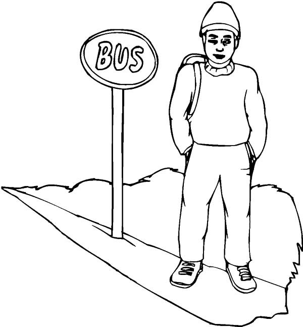 Bus Stop, : Passanger Wait at Bus Stop Coloring Pages