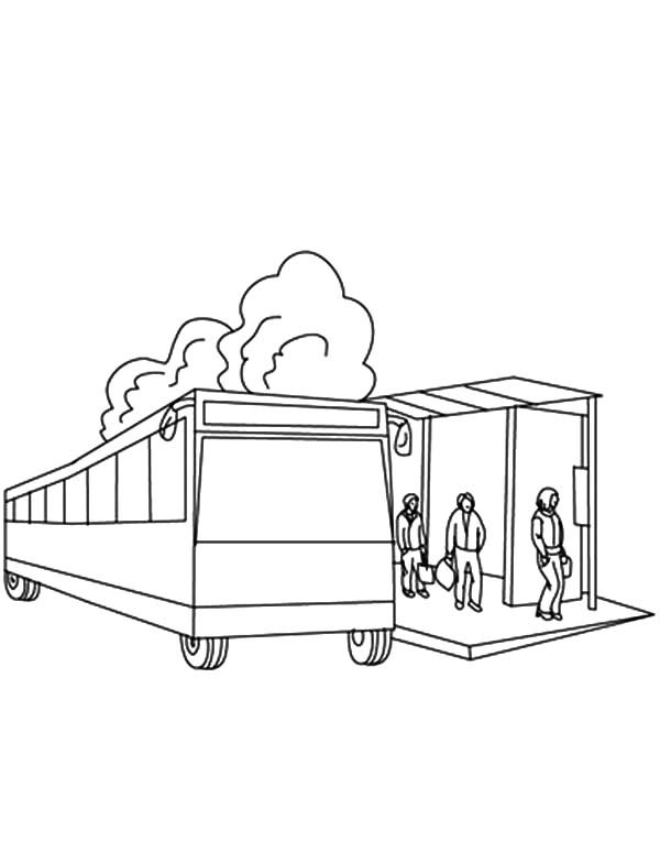 People Gather At Bus Stop Coloring Pages