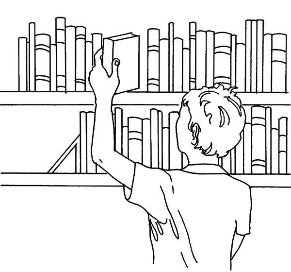 Bookshelf, : Pick a Book from Bookshelf Coloring Pages