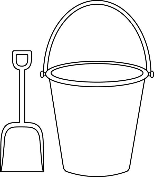 Bucket, : Picture Shovel and Bucket Coloring Pages