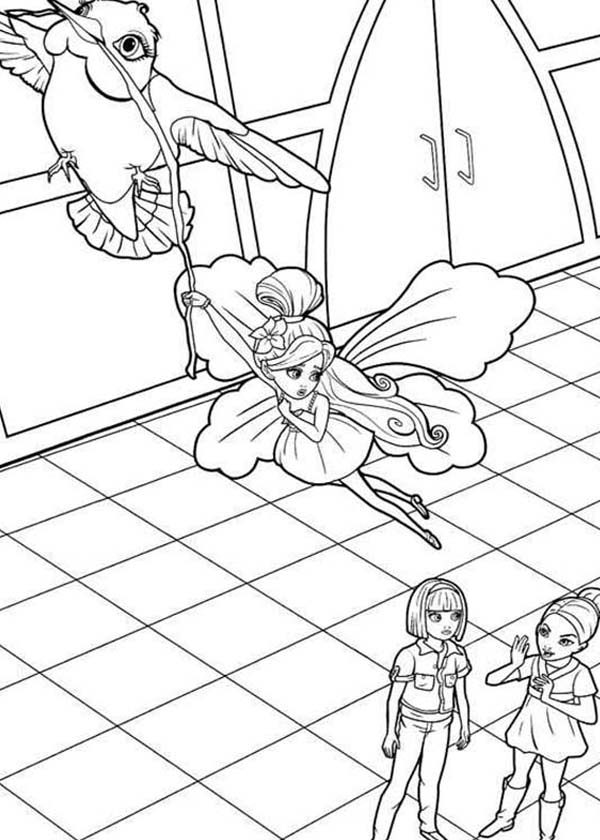 Barbie Thumbelina, : Picture of Barbie Thumbelina Flying Hanging on Bird Coloring Pages
