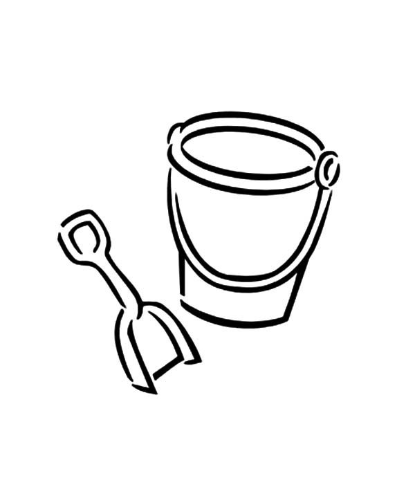 Bucket, : Picture of Bucket and Shovel Coloring Pages