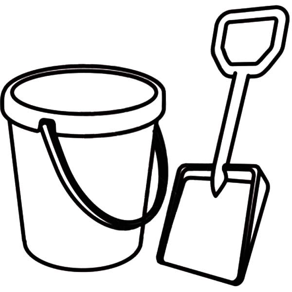 Beach Bucket, : Picture of Shovel and Beach Bucket Coloring Pages