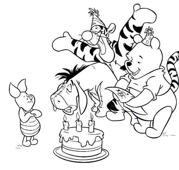 Birthday, : Piglet Birthday Surprise Party Coloring Pages