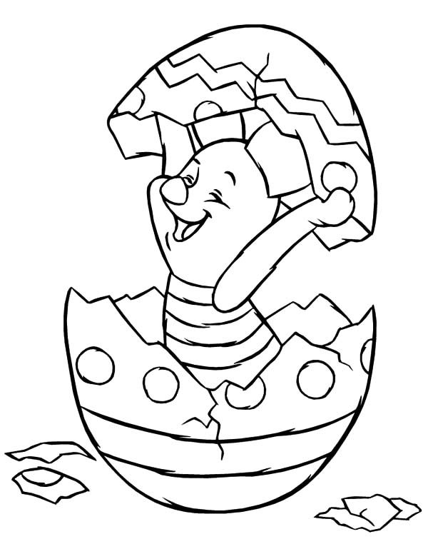 Broken Egg, : Piglet Hatching from Broken Egg Coloring Pages