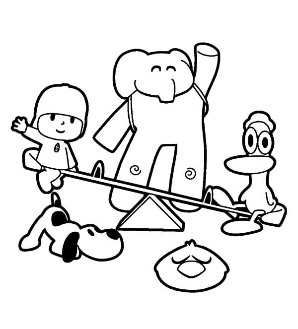 Best Friends, : Pocoyo and Best Friends Playing at Park Coloring Pages