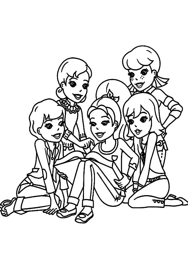 Best Friends, : Polly Pocket Surronded by  Her Best Friends Coloring Pages