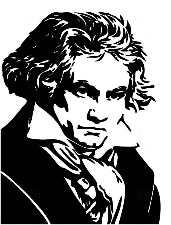 Beethoven, : Portrait of Ludwig van Beethoven Coloring Pages