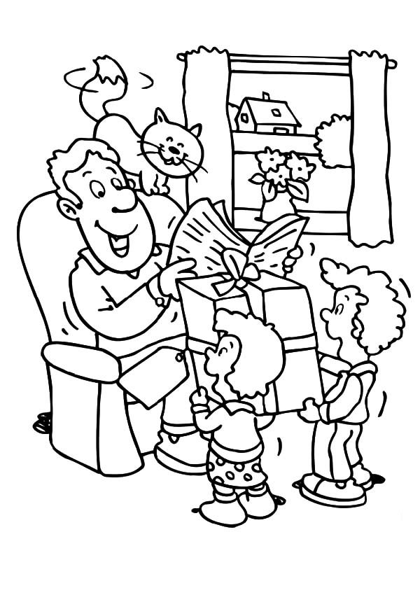 Best Dad, : Prepare Big Gift for Best Dad in the World Coloring Pages