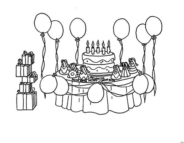 Birthday, : Prepare for Birthday Party Coloring Pages