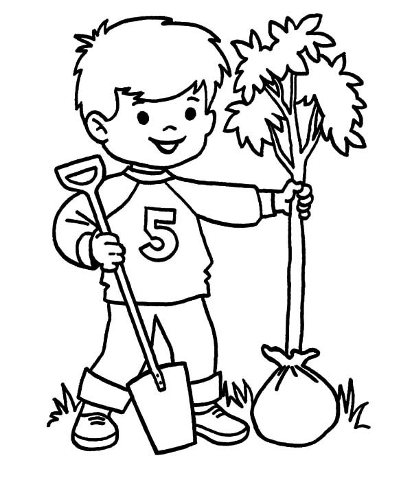 Arbor Day, : Prepare to Plant a Tree on Arbor Day Coloring Pages