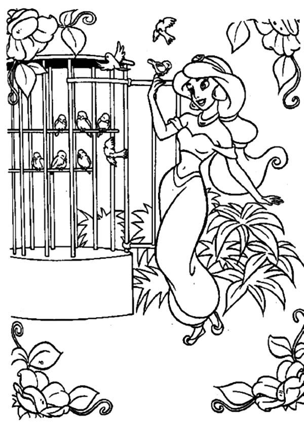 Bird Cage, : Princess Jasmine Opening Bird Cage Door Coloring Pages