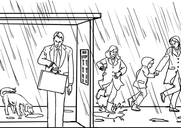 Bus Stop, : Rain Over Bus Stop Coloring Pages