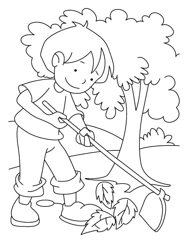 Arbor Day, : Raking Dry Leaves on Arbor Day Coloring Pages