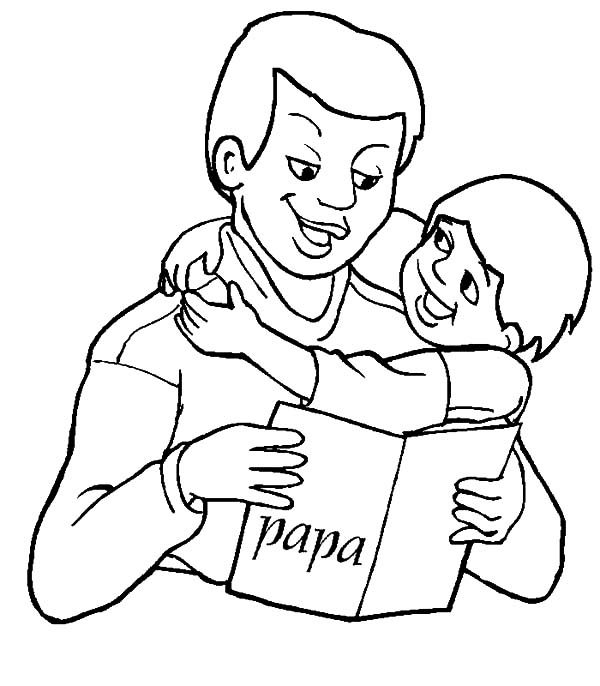 Best Dad, : Reading Fairy Tale Book Best Dad Coloring Pages